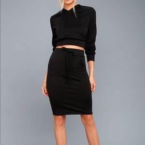 Lulu's LA Love Black Bodycon Midi Skirt S/M